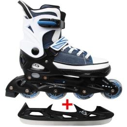 Cox Swain Sneak Kinder Inline Skates & Kinder Schlittschuh 2 in 1 - größenverstellbar ABEC5, Farbe: blue, Größe: S (33-36) - 1