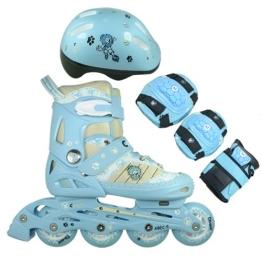 FA Sports Kinder Inline-Skates Set Gears, blau, weiß, creme, schwarz, M, 1200 - 1