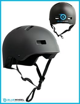 Bluewheel Helm H30 – 3 schichtiger Aufbau für mehr Sicherheit und Tragekomfort, mit Belüftungssystem, passgenau in matt schwarzem Design - schützt sowohl Kinder als auch Erwachsene gleichermaßen (L: 56-62 cm (Kopfumfang)) - 1