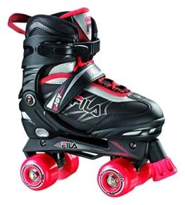 Fila Jungen Roller-Skates Joy Verstellbar Rollschuhe, Schwarz/ Rot, S (31-34) - 1