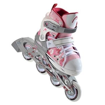 HEAD - Kinder Inlineskates I verstellbar I 6 Größen I Rollerskates für Kinder I ideal für Anfänger I komfortable Skates I Inliner für Mädchen I mit Blumen-Design - Rosa/Weiß - 2