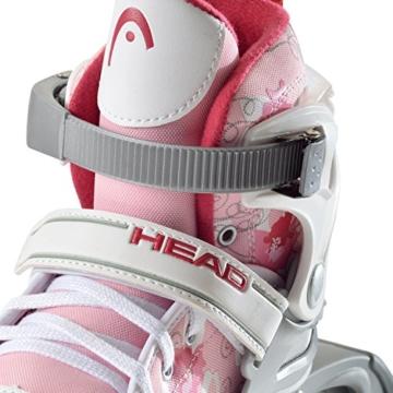 HEAD - Kinder Inlineskates I verstellbar I 6 Größen I Rollerskates für Kinder I ideal für Anfänger I komfortable Skates I Inliner für Mädchen I mit Blumen-Design - Rosa/Weiß - 3