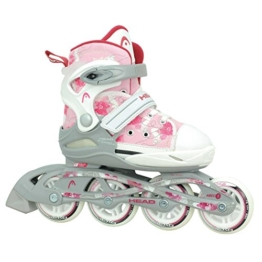 HEAD - Kinder Inlineskates I verstellbar I 6 Größen I Rollerskates für Kinder I ideal für Anfänger I komfortable Skates I Inliner für Mädchen I mit Blumen-Design - Rosa/Weiß - 1