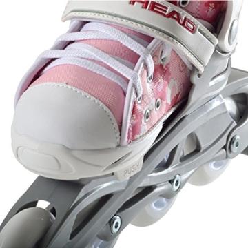 HEAD - Kinder Inlineskates I verstellbar I 6 Größen I Rollerskates für Kinder I ideal für Anfänger I komfortable Skates I Inliner für Mädchen I mit Blumen-Design - Rosa/Weiß - 6