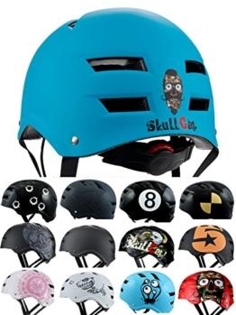 Skullcap® BMX Helm ☢ Skaterhelm ☢ Fahrradhelm ☢, Herren | Damen | Jungs & Kinderhelm, schwarz matt & glänzend (Blue Ocean, L (56 - 58 cm)) - 1