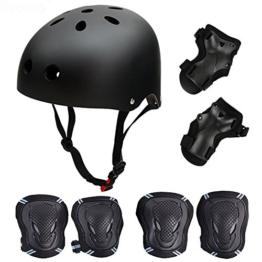 SymbolLife Skateboard / Skate Protektoren Set mit Helmet -- Skate Helmet Knie Pads Elbow Pads mit Handgelenkschoner für Skate, Skateboard, Roller Skate, BMX, Bike und anderen Extreme Sports, S Schwarz - 1